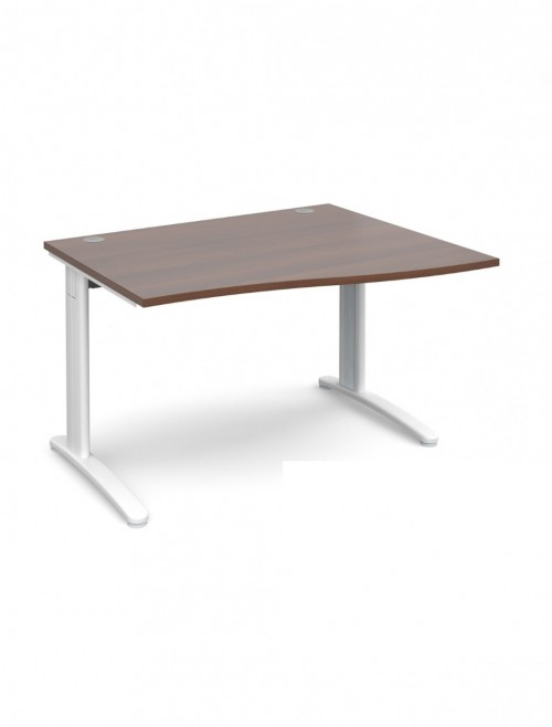 Walnut Office Desk 1200mm Dams TR10 Right Hand Wave Desk TWR12W