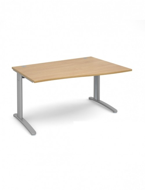 Oak Office Desk 1400mm Dams TR10 Right Hand Wave Desk TWR14O