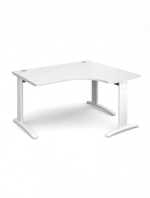 White Office Desk 1400mm Dams TR10 Right Hand Ergonomic Deluxe TDER14WH