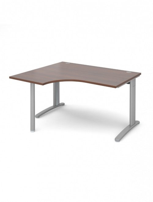 Walnut Office Desk 1400mm Dams TR10 Left Hand Ergonomic Desk TBEL14W