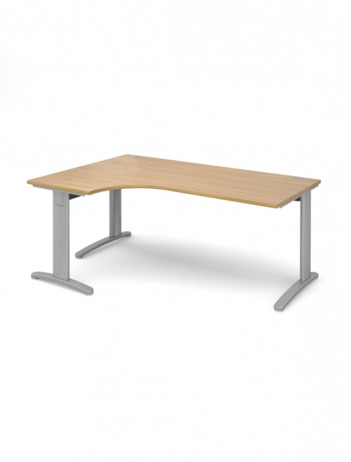 Oak Office Desk 1800mm Dams TR10 Left Hand Ergonomic Deluxe TDEL18O