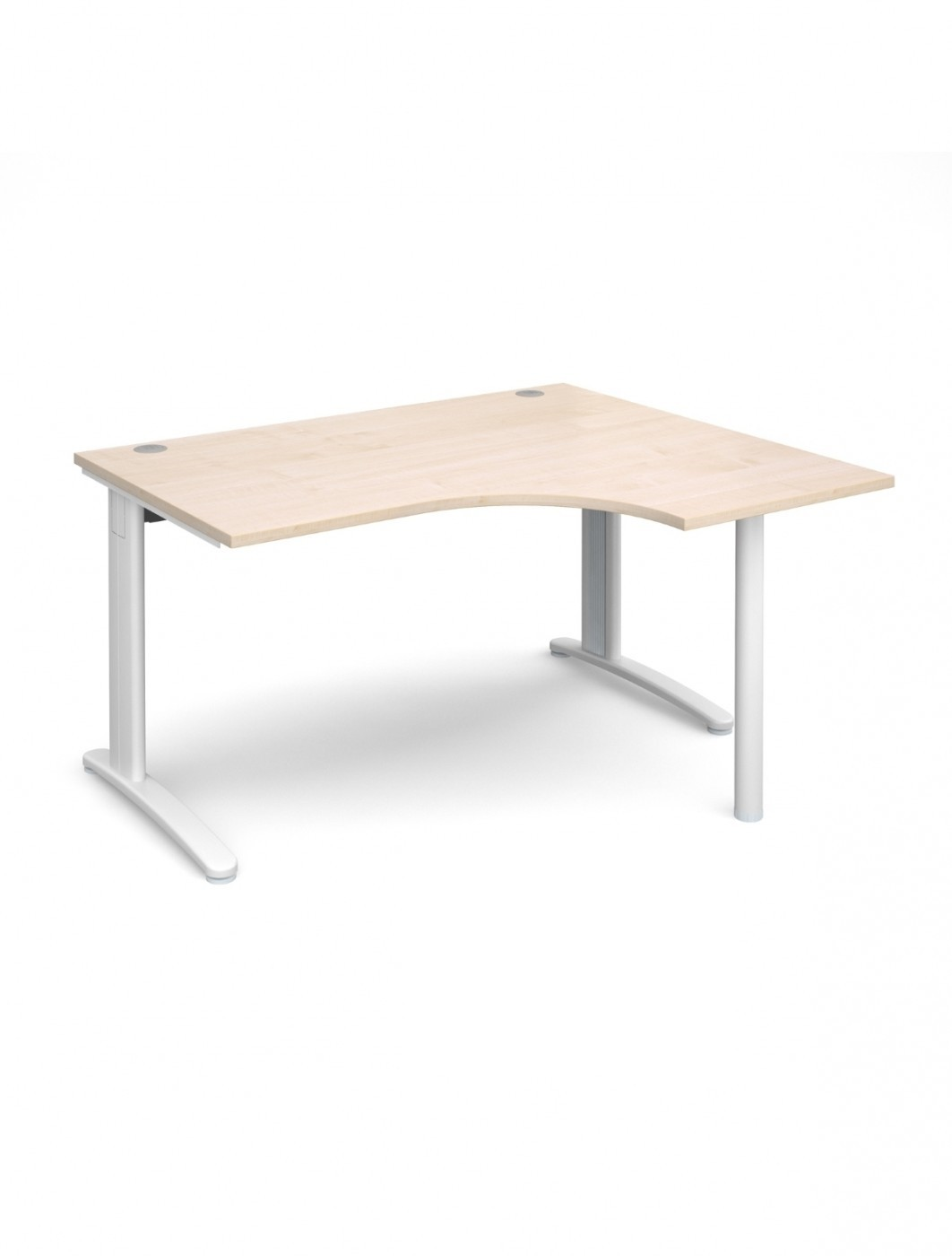 Exceptional Maple Office Desk 1400mm Wide Dams TR10 Right Hand Ergonomic TBER14M    Enlarged View