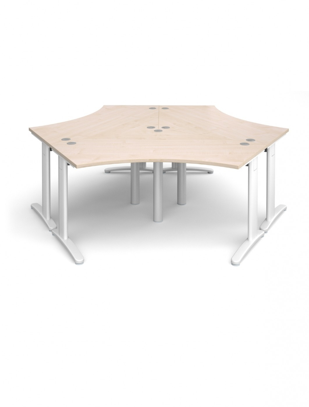 Maple Office Desk Dams TR10 120 Degree Desk Cluster T120M   Enlarged View