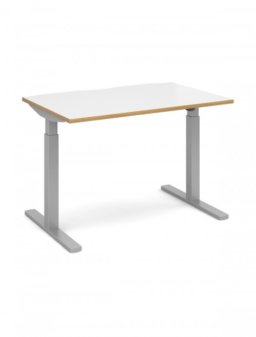 Elev8 White and Oak Sit Stand Desks