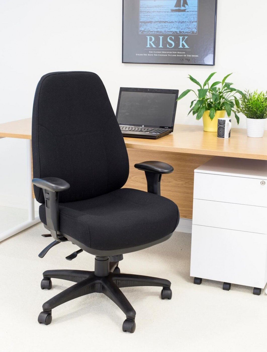 Office Chairs - Panther 24 Hour Fabric Office Chair CH1108BK
