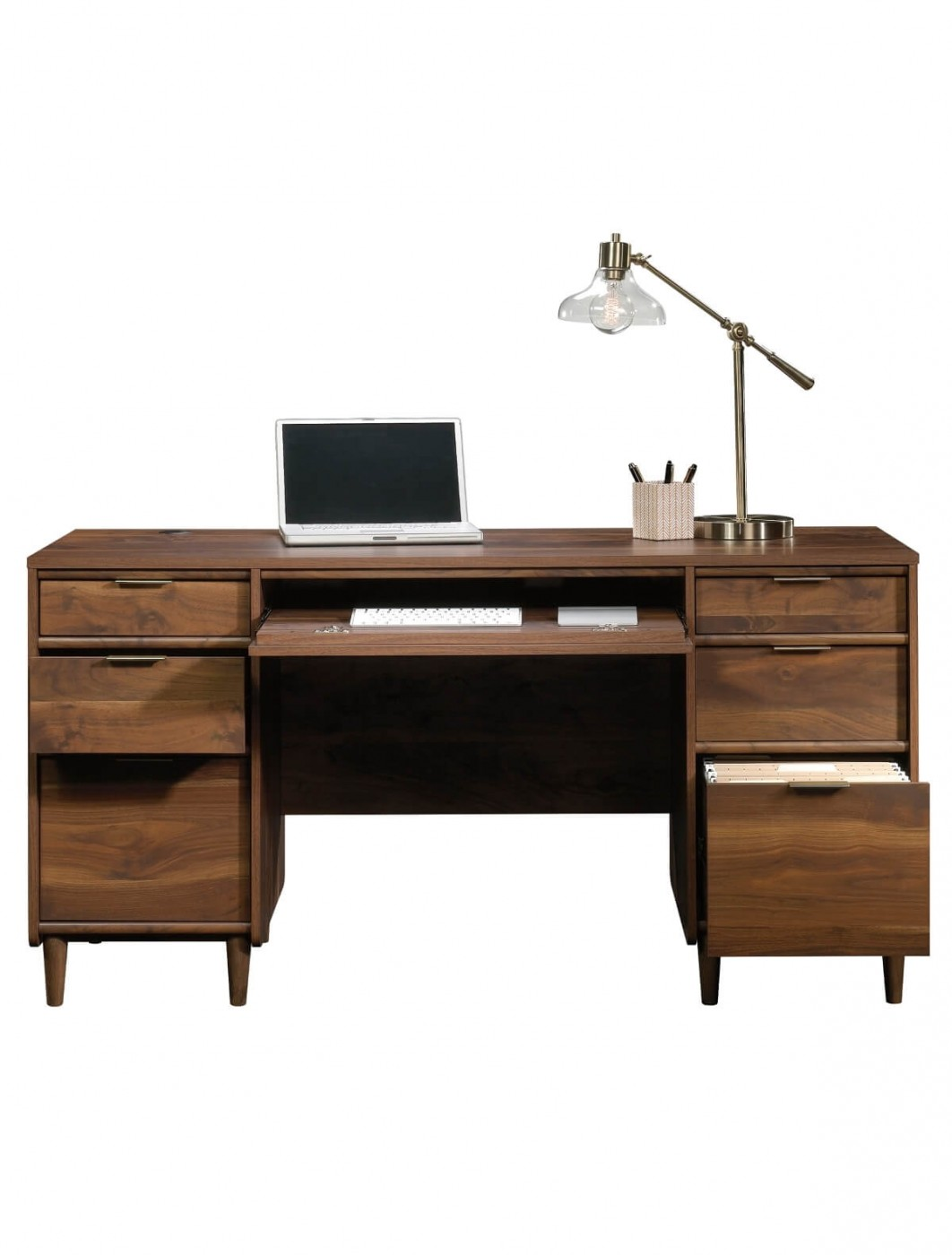 Home office desks clifton place executive walnut office desk 5421113 enlarged view