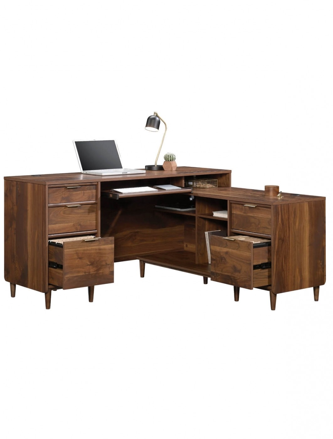 Home office desks clifton place l shaped walnut office desk 5421120 enlarged view