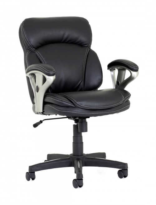 Office Chairs - Photon Black Bonded Leather Office Chair PN02