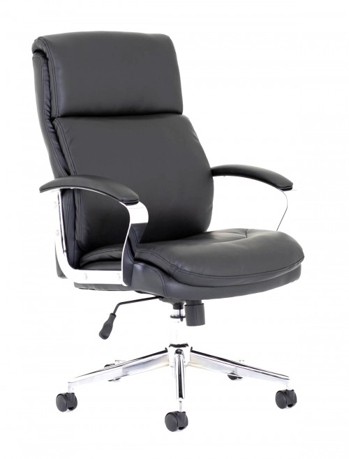 Office Chairs - Tunis Black Leather Office Chair TUS01