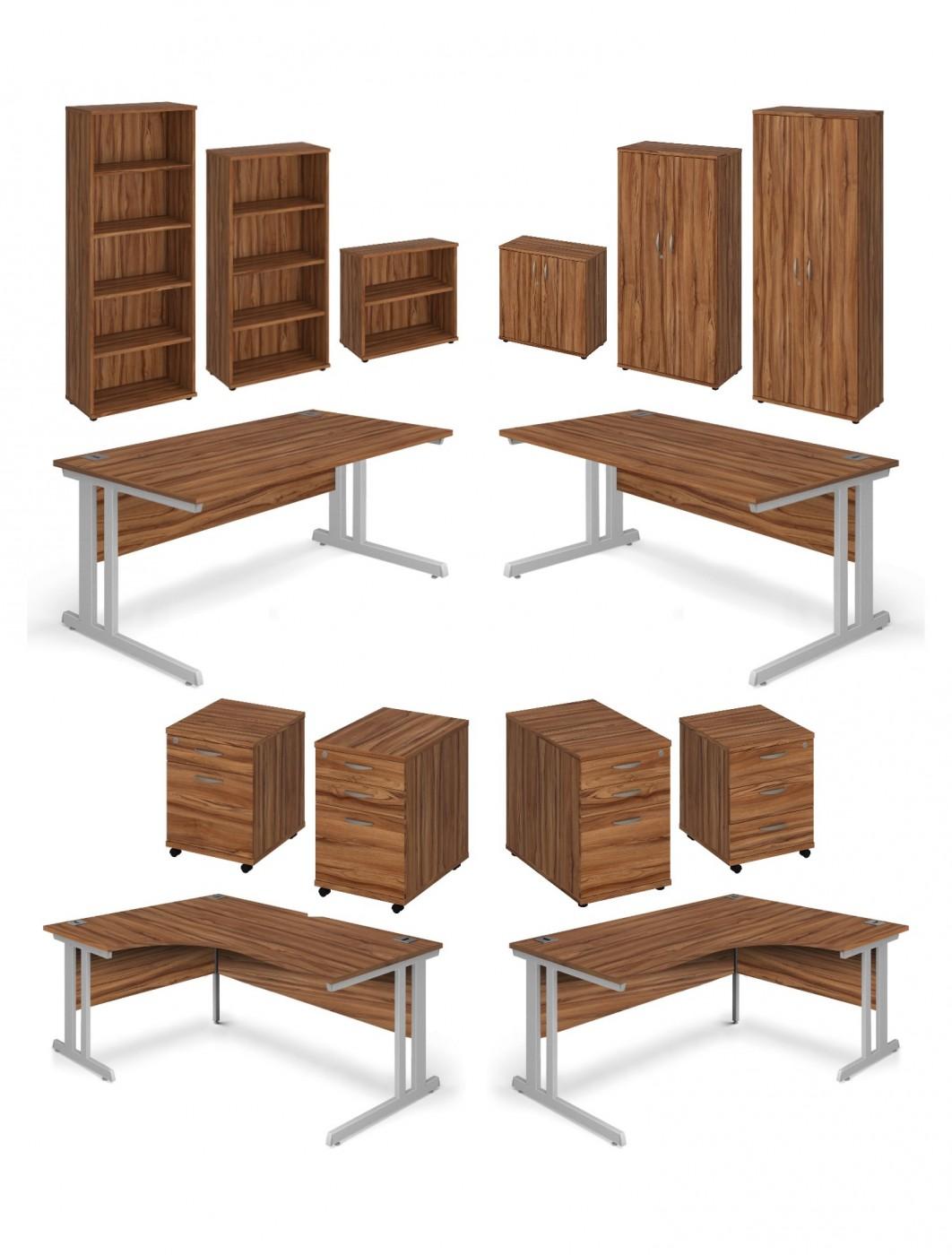 Walnut Office Desk 1400x800mm Aspire Desk Etsd1400wn 121 Office