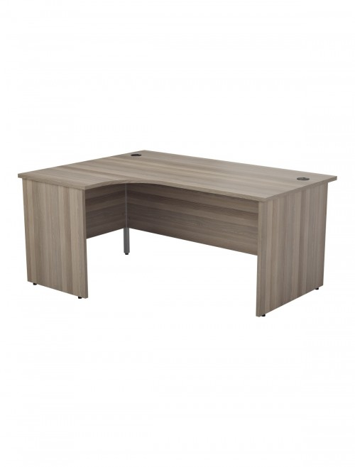 Grey Oak Office Desk 1600mm TC One Panel L Shaped Desk OPR1612CWSLPGO