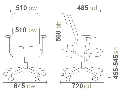 Sofia SOF300T1 Office Chair Dimensions