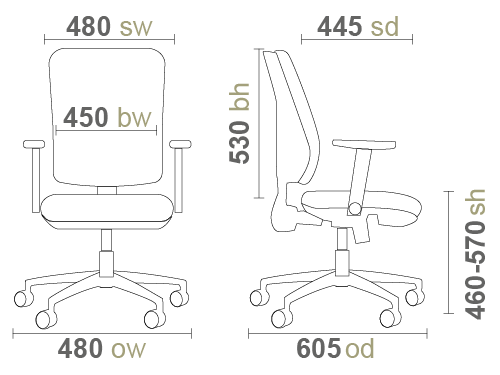 Vantage V100 Office Chair Dimensions