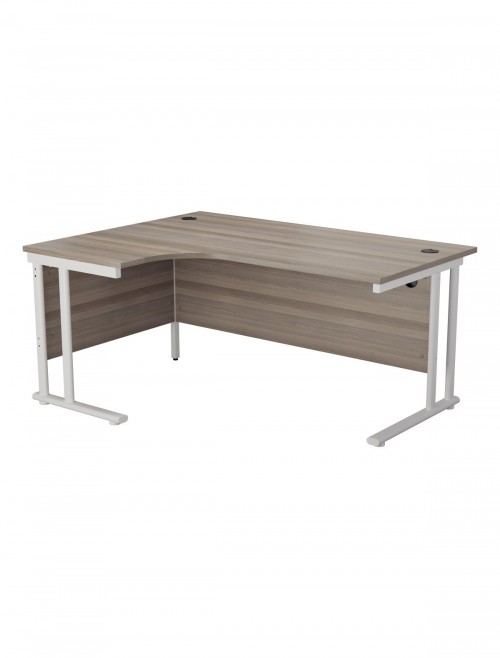 Grey Oak Office Desk 1600mm TC Lite L Shaped Desk TWU1612LHRADGO
