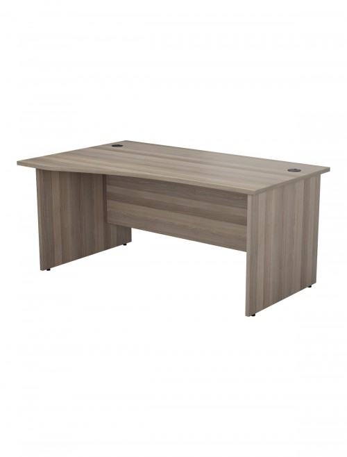 Grey Oak Office Desk 1600mm TC One Panel Wave Desk OPR1610WVLPGO