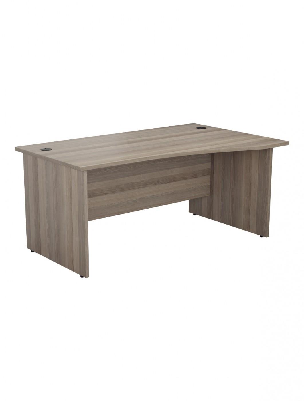 Grey oak office desk 1600mm tc one panel wave desk opr1610wvrpgo enlarged view