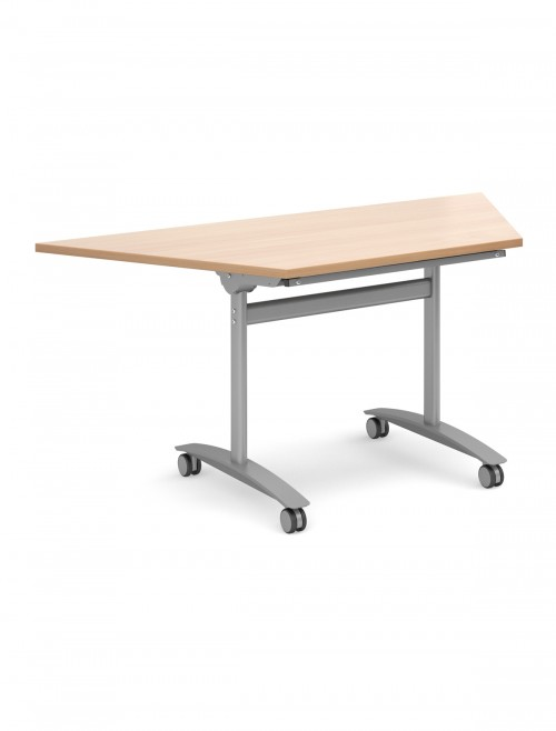 Beech Table - Trapezoidal Deluxe Flip Top Meeting Table 1600mm DFLPT-S-B