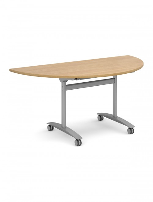 Oak Table - Semi-Circular Deluxe Flip Top Meeting Table 1600mm DFLPS-S-O