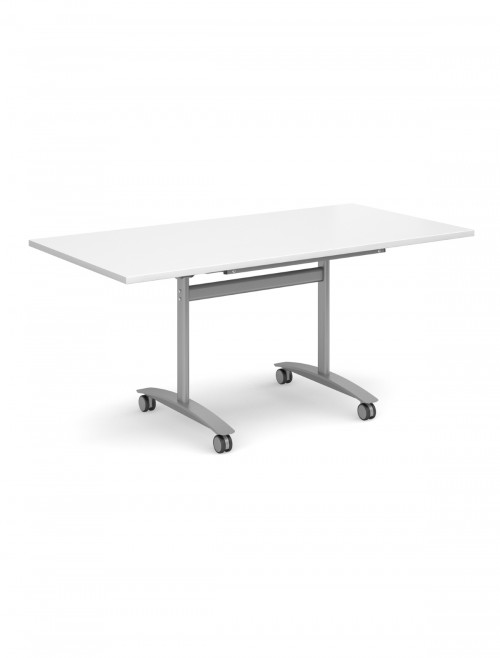 White Table - Deluxe Flip Top Meeting Table 1400mm DFLP14-S-WH