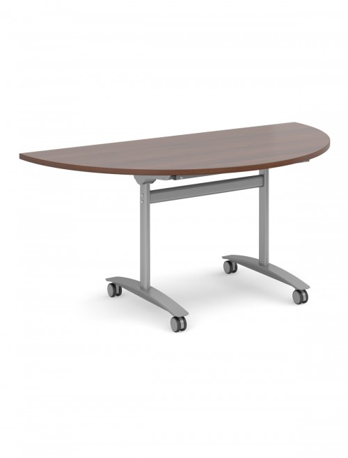 Walnut Table - Semi-Circular Deluxe Flip Top Meeting Table 1600mm DFLPS-S-W