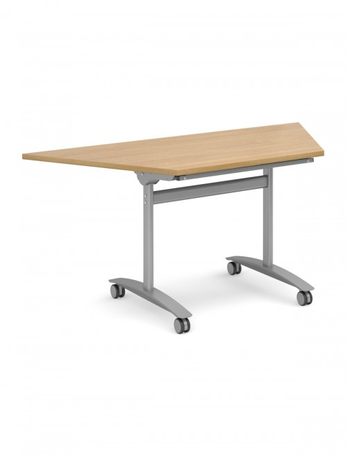 Oak Table - Trapezoidal Deluxe Flip Top Meeting Table 1600mm DFLPT-S-O