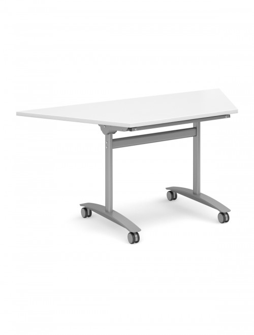 White Table - Trapezoidal Deluxe Flip Top Meeting Table 1600mm DFLPT-S-WH
