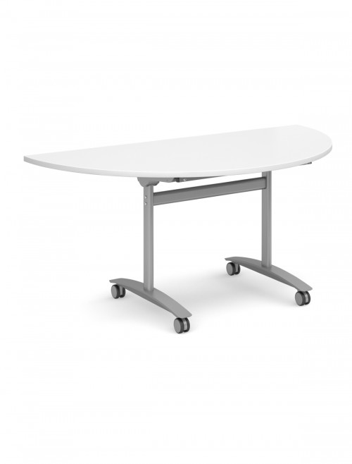 White Table - Semi-Circular Deluxe Flip Top Meeting Table 1600mm DFLPS-S-WH
