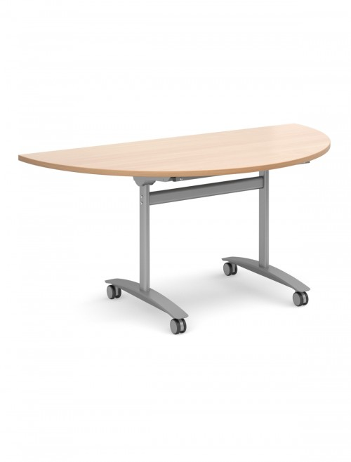 Beech Table - Semi-Circular Deluxe Flip Top Meeting Table 1600mm DFLPS-S-B