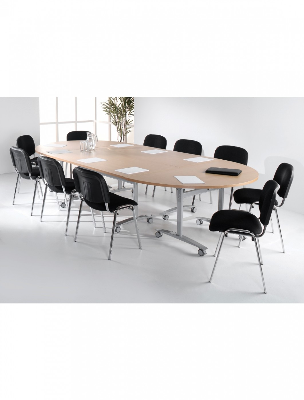 Maple Table - Semi-Circular Deluxe Flip Top Meeting Table 1600mm DFLPS-S-M