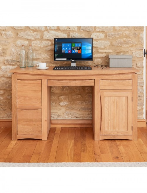 Home Office Desk - Computer Desk Baumhaus Roscoe Oak CNS06A