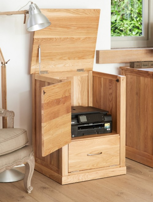 Home Office Storage - Printer Cupboard Baumhaus Mobel Oak COR07C