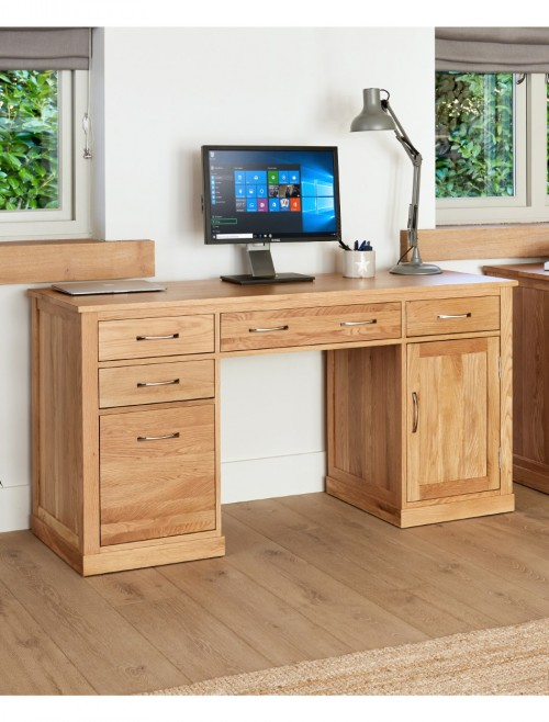 Home Office Desk - Executive Computer Desk Baumhaus Mobel Oak COR06C