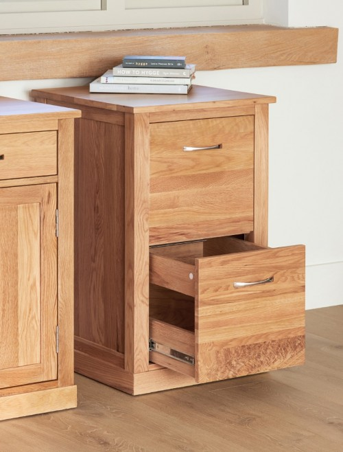Home Office Storage - 2 Drawer Filing Cabinet Baumhaus Mobel Oak COR07A