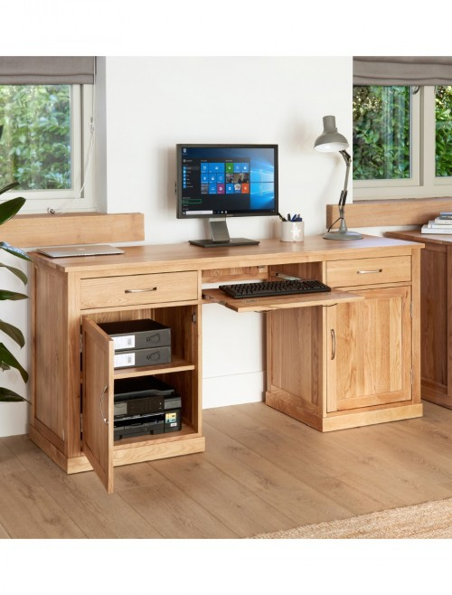 Home Office Desk - Executive Computer Desk Bureau Baumhaus Mobel Oak COR06D
