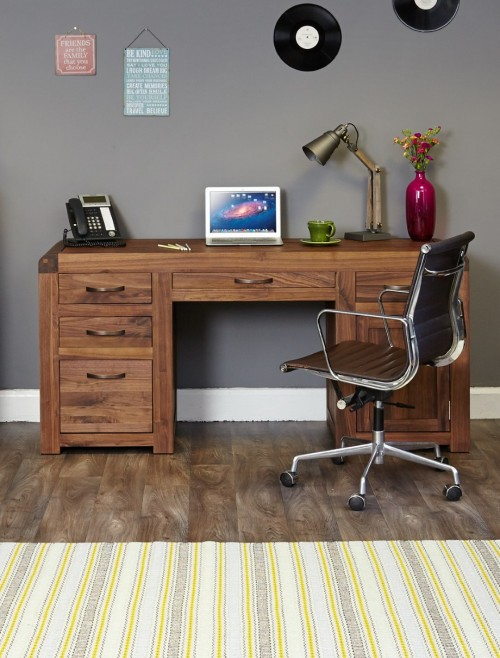 Home Office Desk - Executive Computer Desk Baumhaus Shiro Walnut CDR06B