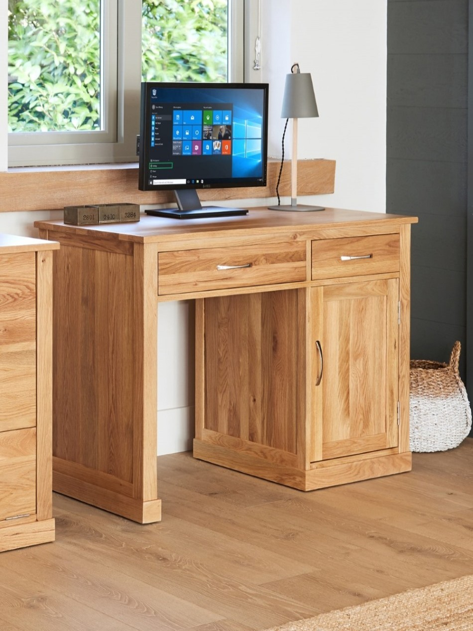 home office desk computer desk baumhaus mobel oak cor06b enlarged view