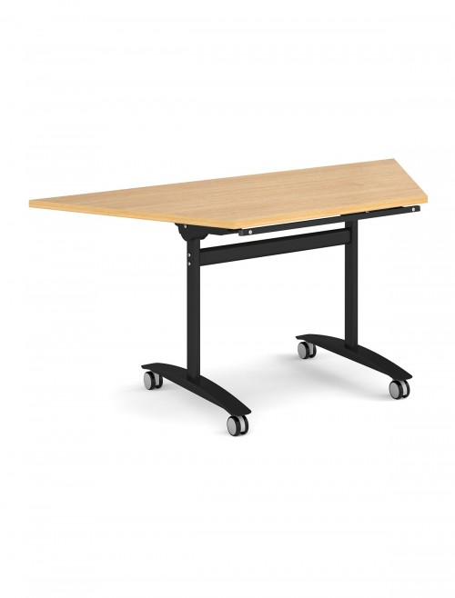 Oak Table - Trapezoidal Deluxe Flip Top Meeting Table 1600mm DFLPT-K-O