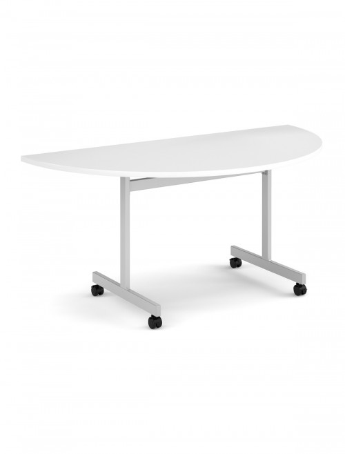 White Table - Semi-Circular Flip Top Meeting Table 1600mm FLPS-S-WH
