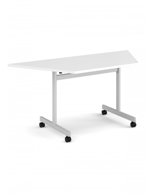 White Table - Trapezoidal Flip Top Meeting Table 1600mm FLPT-S-WH