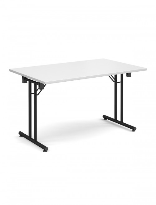 White Table Straight Folding Leg Meeting Table 1600mm SFL1600-K-WH
