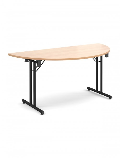 Beech Table - Semi-Circular Straight Folding Leg Meeting Table 1600mm SFL1600S-K-B