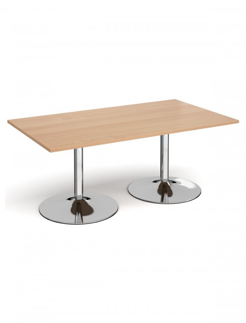 Dams Rectangular Boardroom Table with Chrome Trumpet Base TB18-C