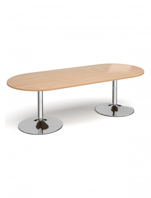 Dams Radial End Boardroom Table with Chrome Trumpet Base TB24-C
