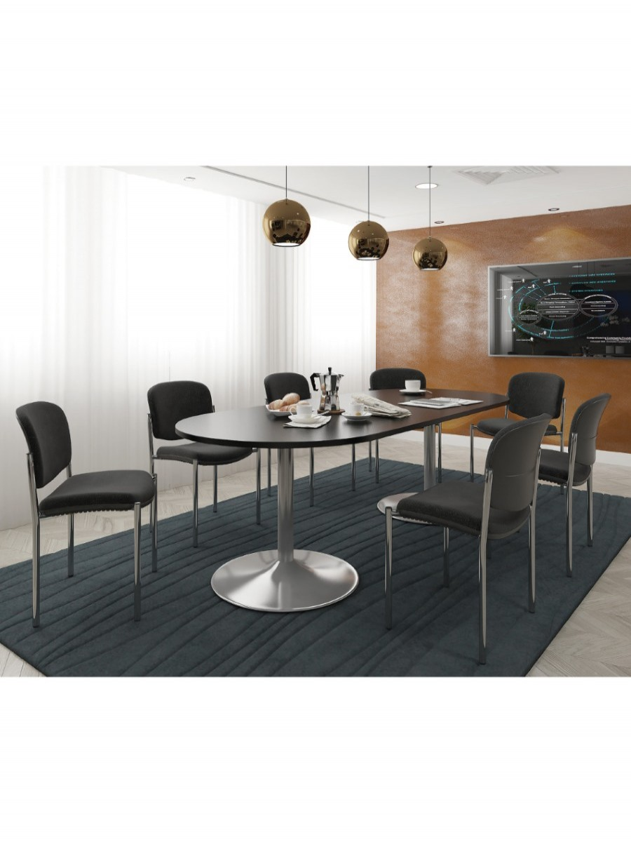 Dams Rectangular Boardroom Table with Silver Trumpet Base TB18-S