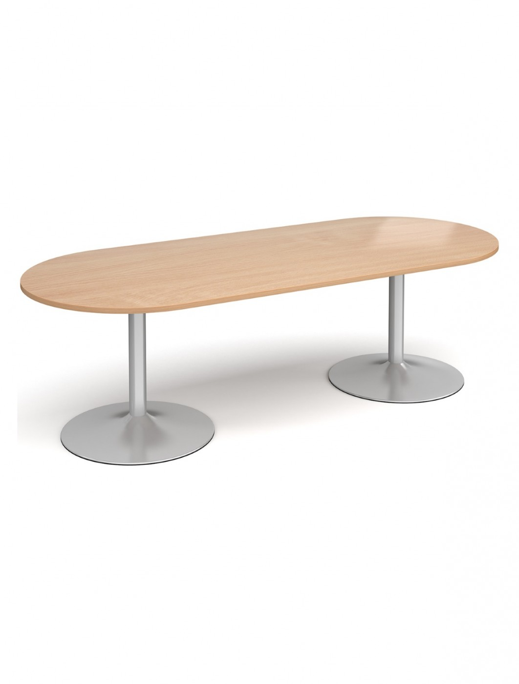 Dams Radial End Boardroom Table with Silver Trumpet Base TB24-S