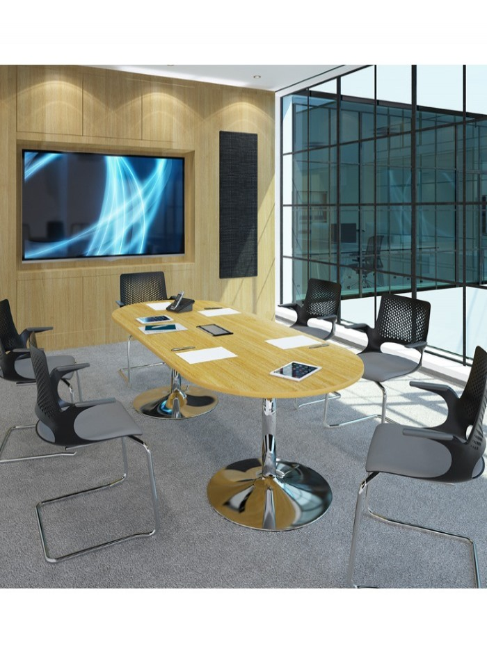 Dams Rectangular Boardroom Table with Chrome Trumpet Base TB20-C