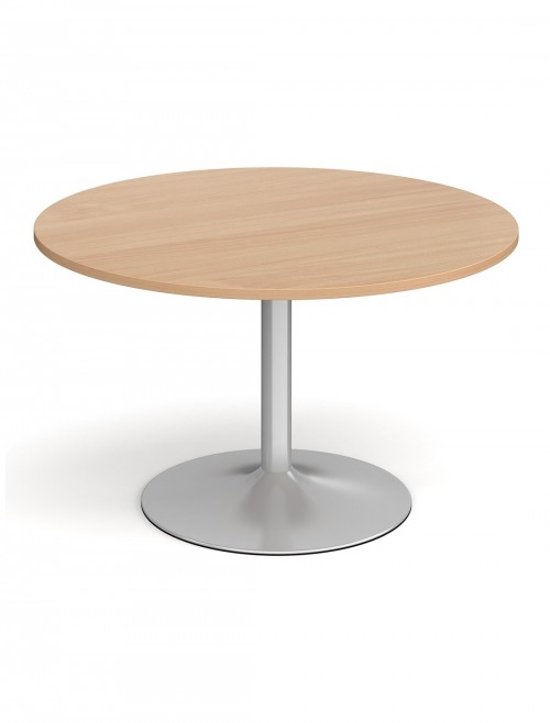 Dams Circular Boardroom Table with Silver Trumpet Base TB12C-S
