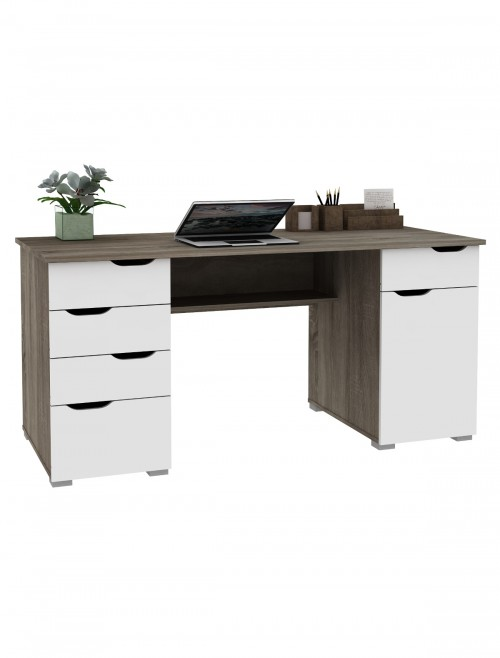 Home Office Desks - Alphason Kentucky Dark Oak Desk AW1374DO