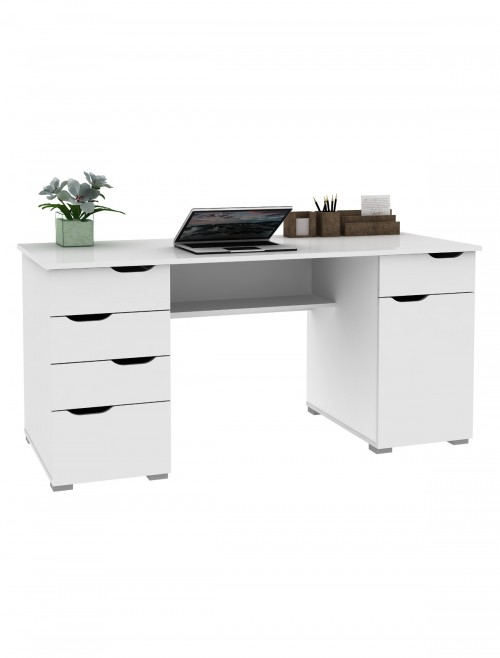 Home Office Desks - Alphason Kentucky White Desk AW1374WHT