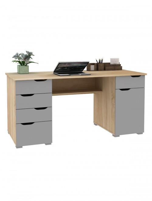 Home Office Desks - Alphason Kentucky Light Oak Desk AW1374LO